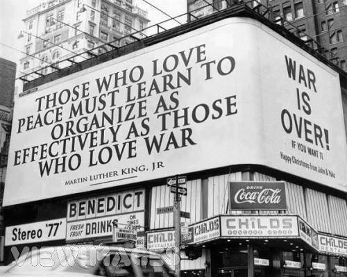 John Lennon and Yoko Ono's Times Square billboard, 1969